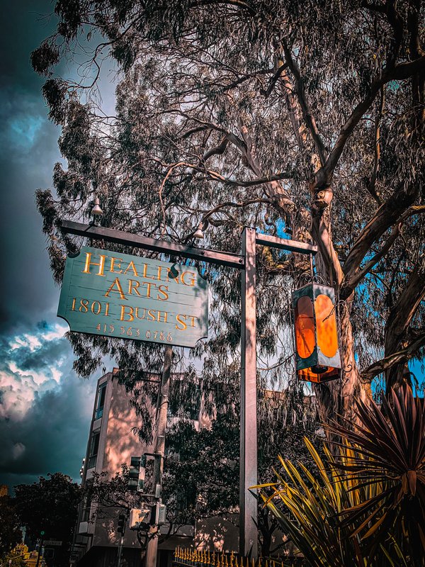 """Photo of a street corner - there is a hanging sign that states """"Healing Arts, 1801 Bush St."""" There's a hanging lantern oposite the sign. In the background there are mature eucalyptus trees. The photo has a very moody filter."""