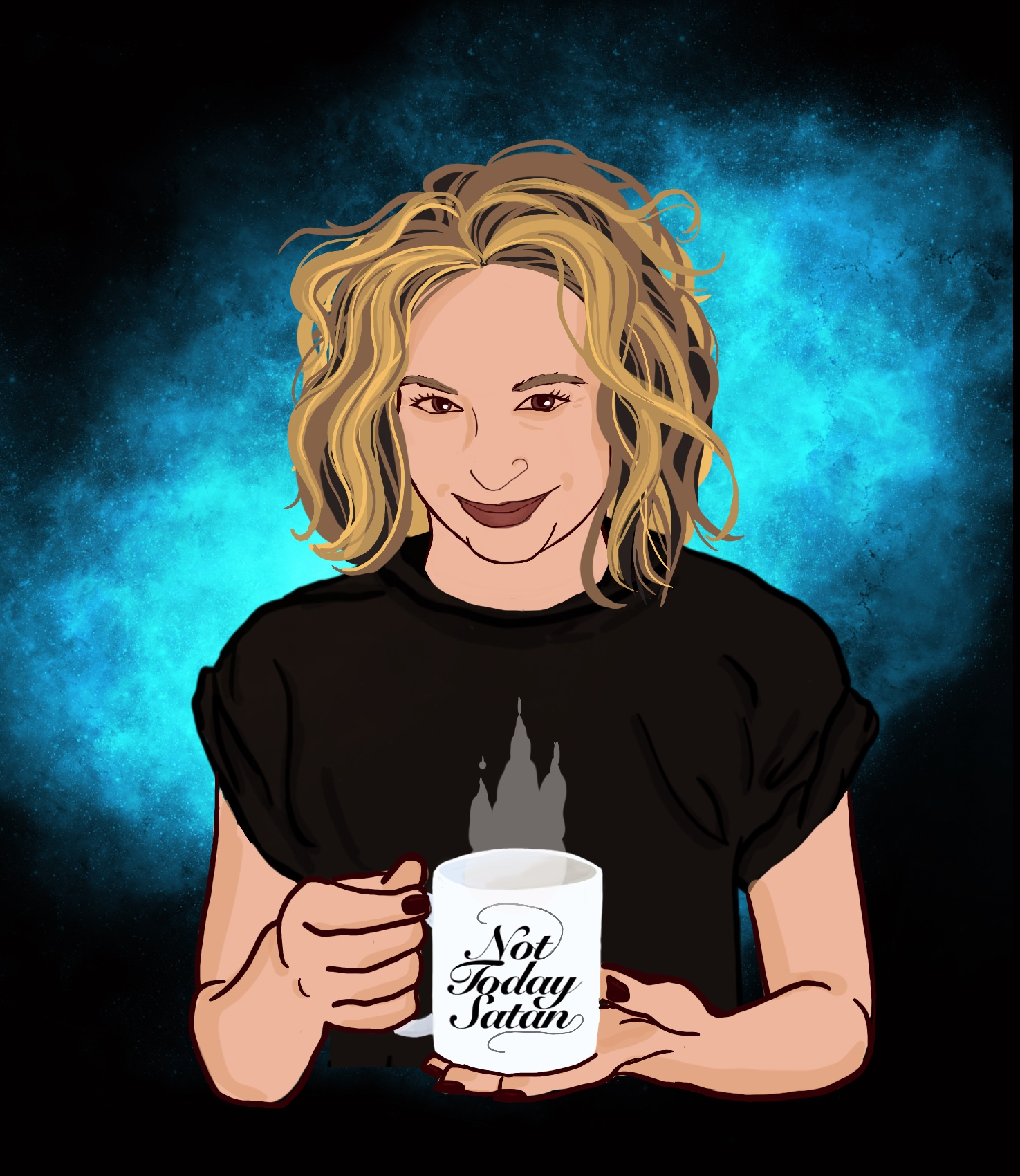 "A color illustration of a smirking white woman with messy shoulder length blonde hair, wearing a black tshirt with the sleeves rolled up a little. Her arms are bare and her fingernails are painted a dark color, almost black. She's holding a white coffee mug with stylized letters that read, ""Not Today Satan."" There's steam rising from the top of the mug. Behind the figure is a blue neubula burst."