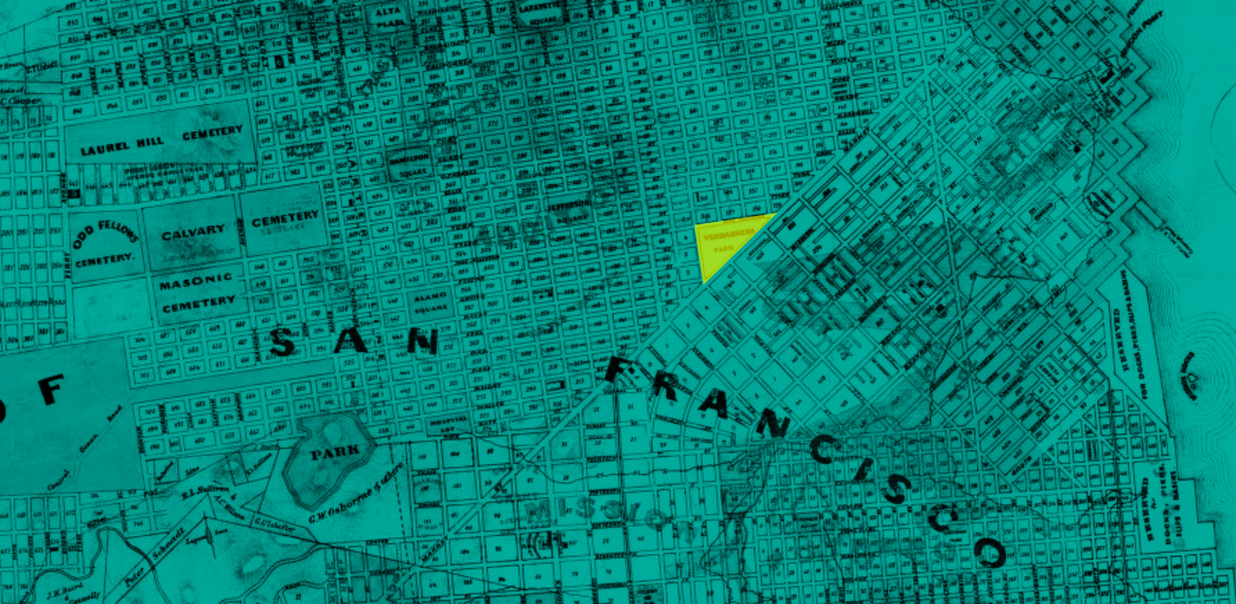 A detail map of 1869 San Francisco. The area of Yerba Buena Cemetery is highlighted in the area that is now Civic Center.