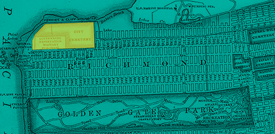 A detailed map of 1869 San Francisco highlighting the location of City Cemetery at the most Northwesterne edge of the city, where Cliff House and Lands End is now.