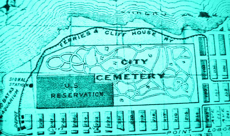 An enlarged section of a map showing the layout of City Cemetery and the most Northwestern edge of San Francisco where it meets the ocean. The cemetery map shows the paths of the graveyard, and the plot areas and their numbers, with the bottom left corner marked US Reservation.