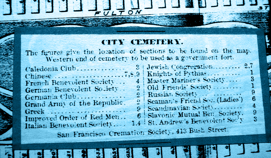 """A cemetery map key that corresponds to the City Cemetery layout map above. The key reads: """"The figures give the location of sections to be found on the map. Western end of cemetery to be used as a government fort."""" The sections are labeled and numbered thus: Caledonia Club -3. Chinese - 7, 8, 9. French Benevolent Society - 4. German Benevolent Society - 2. Germania Club - 2. Grand Arm of the Republic - 2. Greek - 9. Improved Order of Red Men - 6. Italian Benevolent Society - 1, 4. Jewish Congregation - 2, 7. Knights of Pythias - 1. Master Mariner's Society - 3. Old Friends' Society - 1. Russian Society - 9. Seaman's Friend Soc. (Ladies) - 6. Scandinavian Society - 4. Slavonic Mutual Ben. Society - 9. St. Andrew's Benevolent Soc'y - 3. The caption below reads: """"San Francisco Cremation Society, 413 Bush Street."""""""