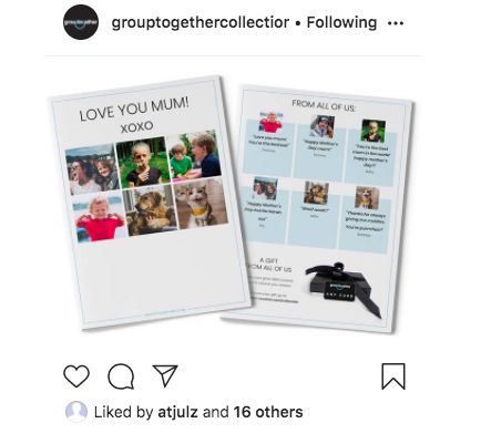 Instagram snap shot of Group Together Collection