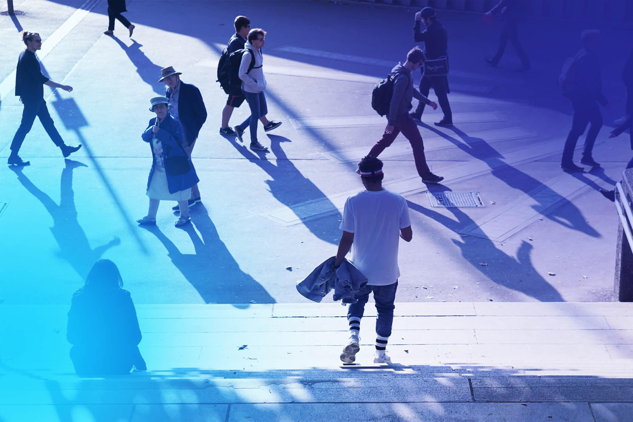 Positiv Psykologi människor i stadsmiljö interagerar