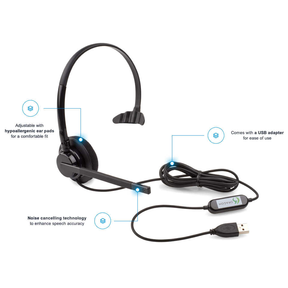 Dragon USB Mono Headset & Microphone