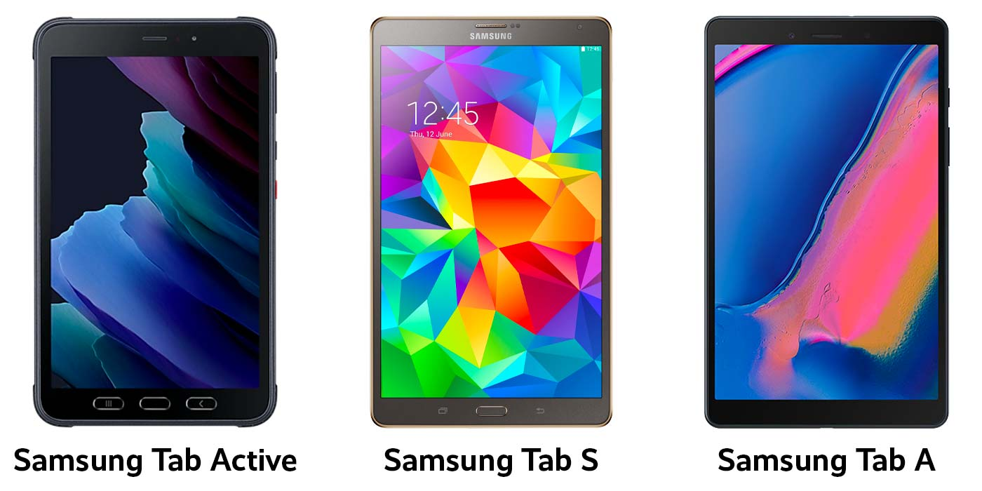 Different types of Samsung tablet