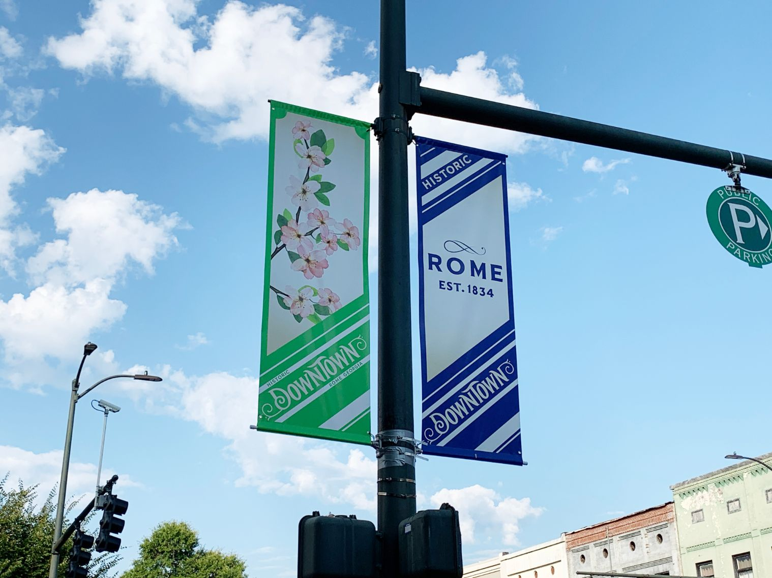 downtown rome flag pole banners