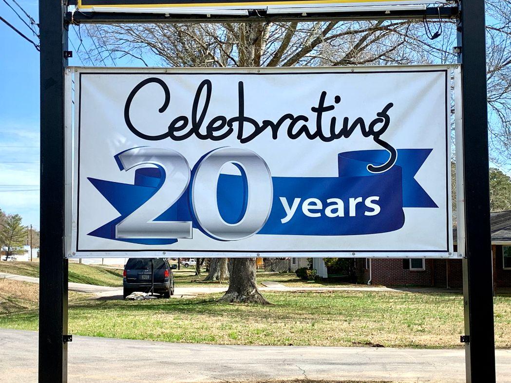 20 year celebration banner