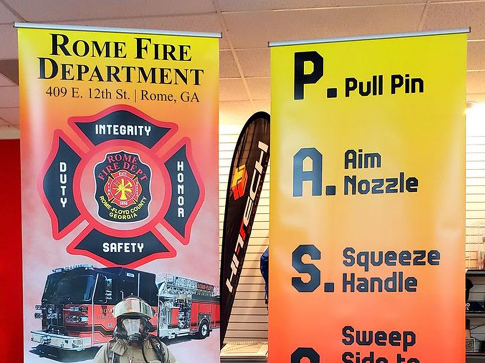 rome fire department stand banners