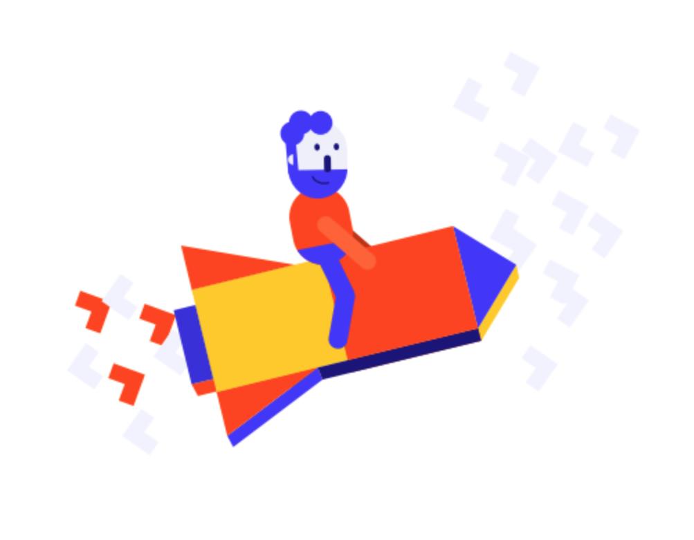 Generato mascot riding a rocket
