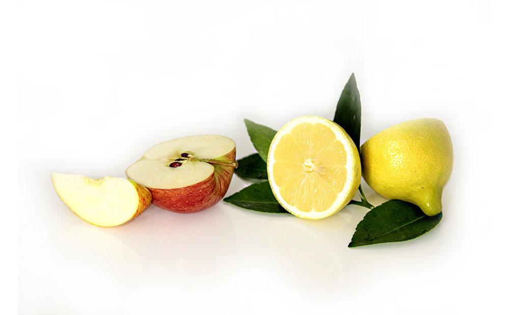 Äpfel & Zitronen als Inhaltsstoffe