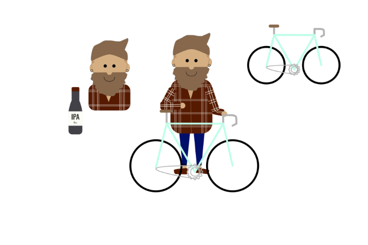 Hipster illustratie met fiets en flesje bier