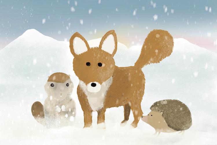 Kerstkaart met vos, egel en marmot