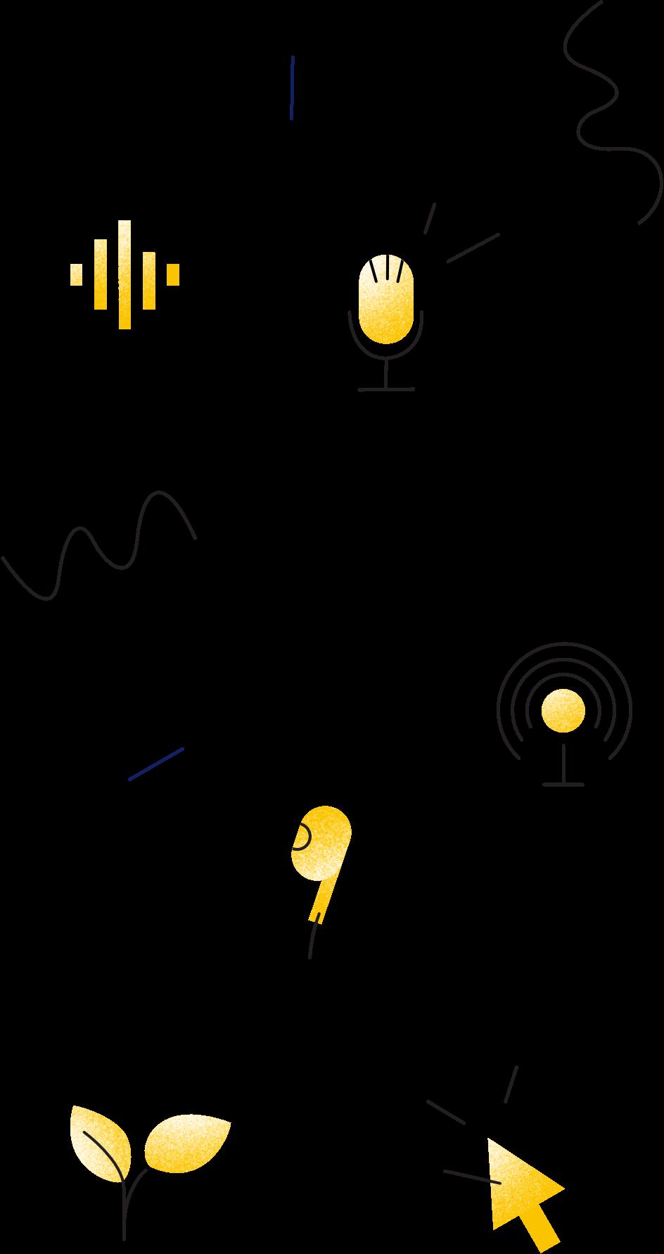 pen icon, mobile icon, earphones icon, heart icon