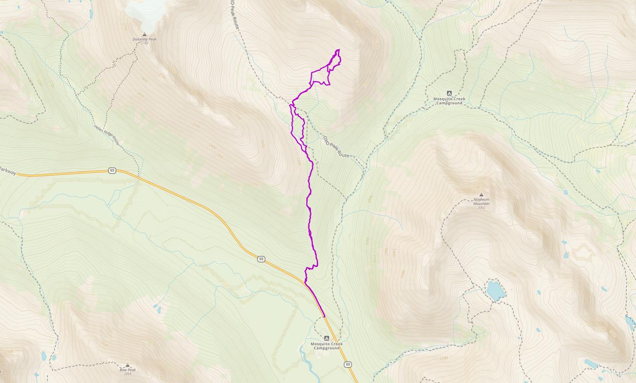 GPS route of ski tour towards Oxo Puzzle Peak Ramp