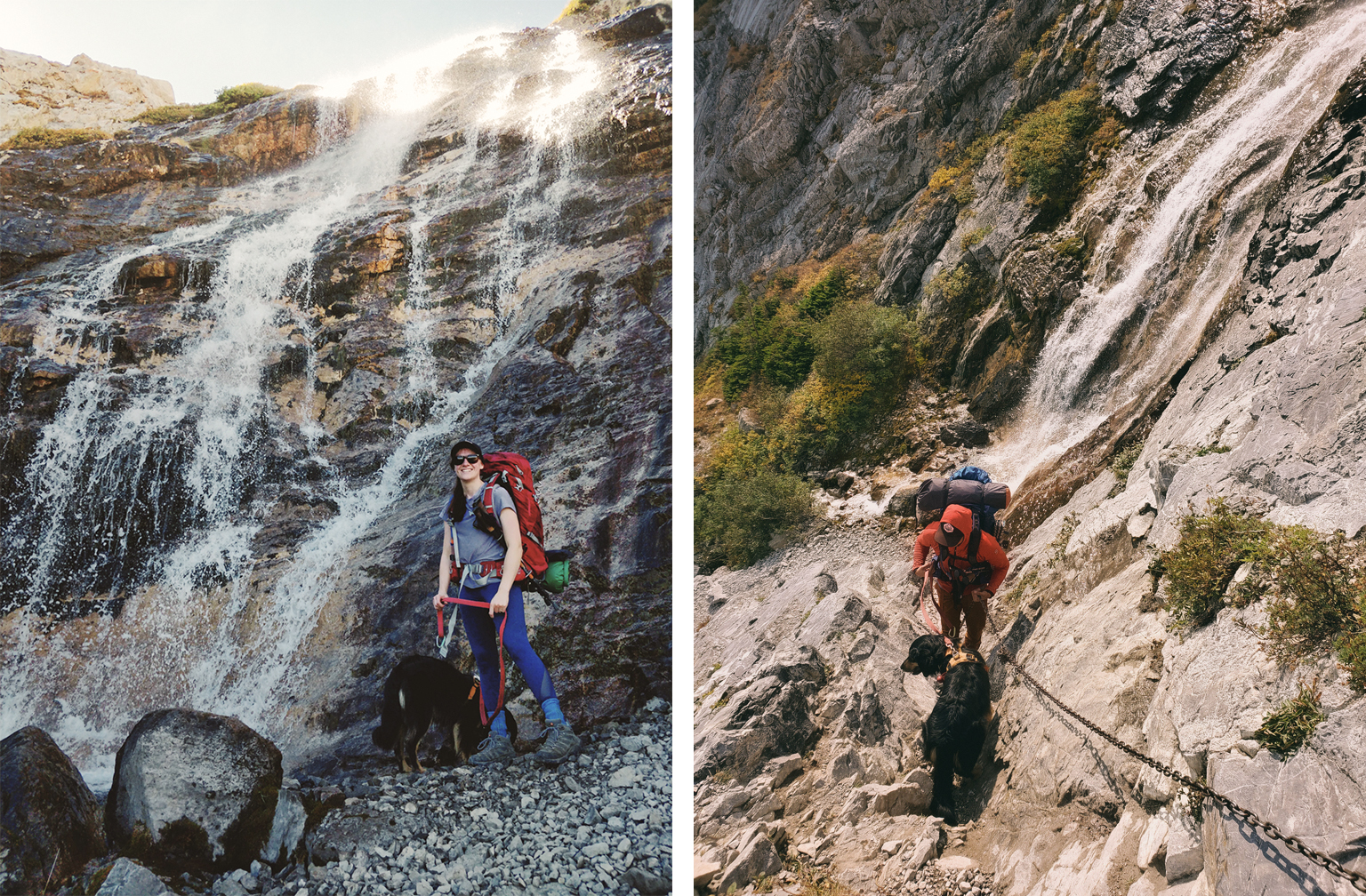 hiker and dog standing at the base of a small waterfall (left) and hiker with dog climbing up chains (right) at carnarvon lake