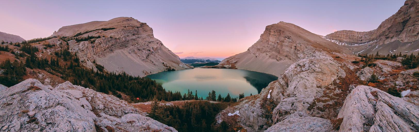 Panorama of Carnarvon lakes at sunset
