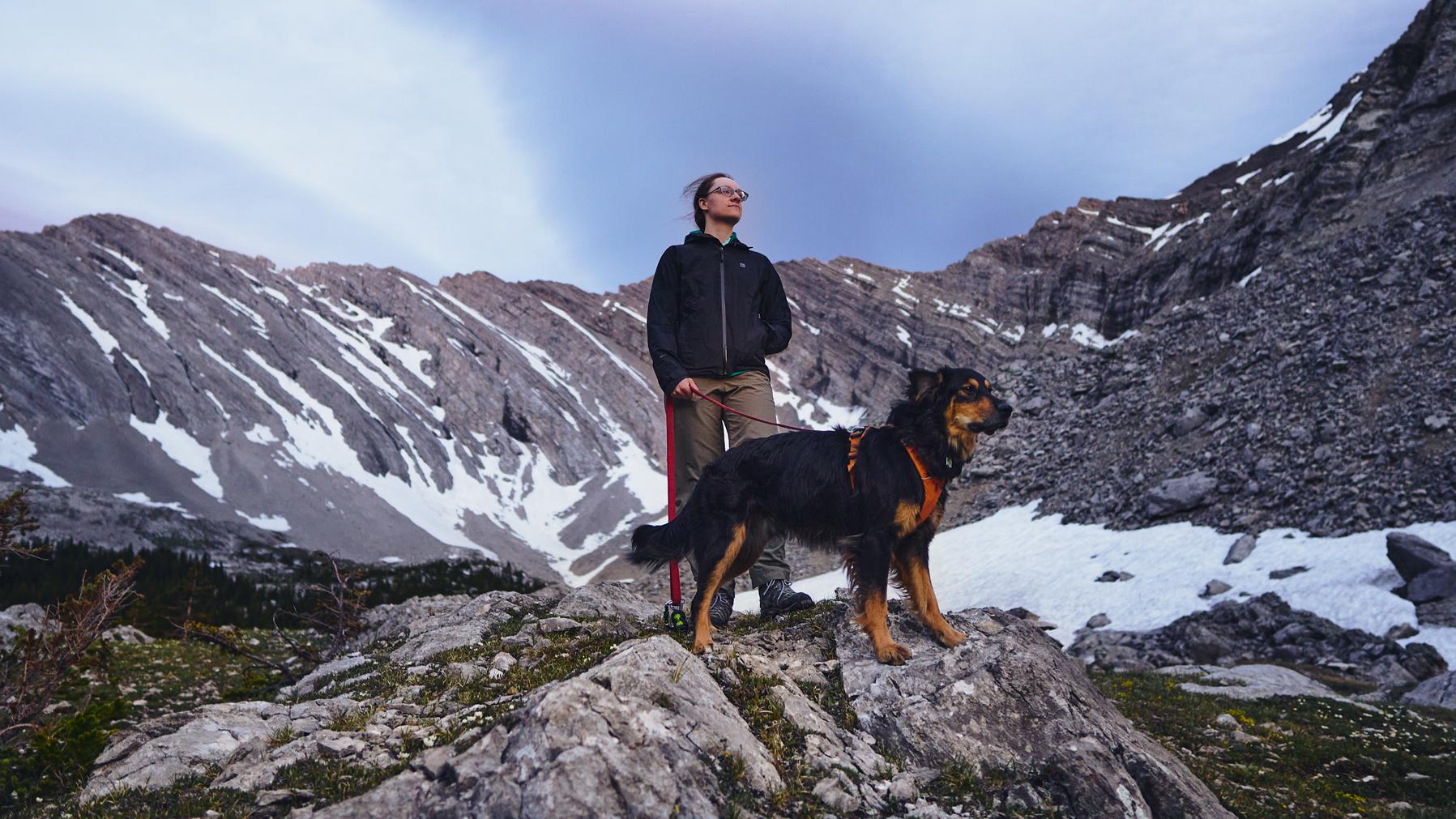 hiker in black mec jacket and black dog stand in front of lineham ridge in kananaskis