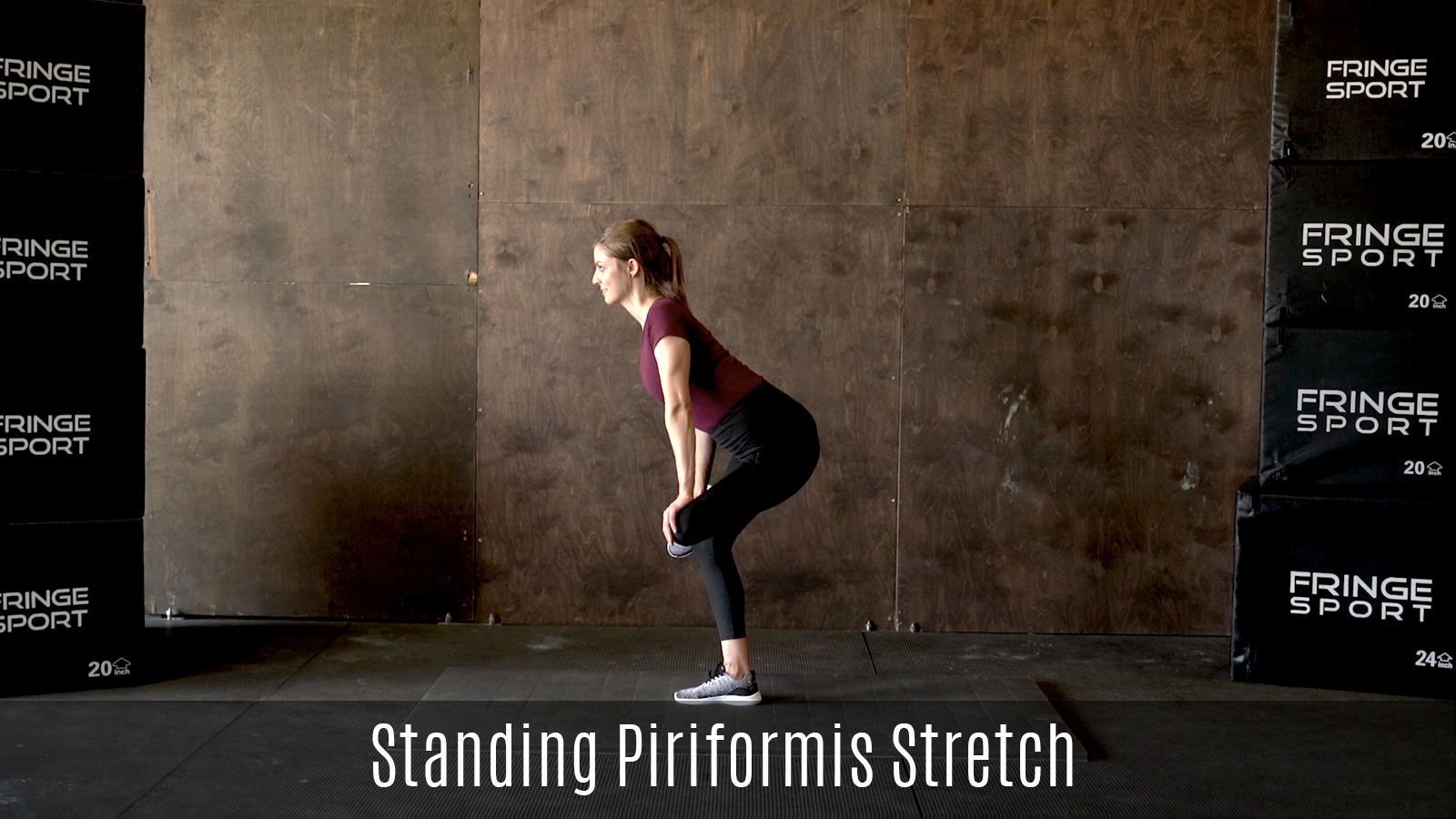 standing piriformis stretch demo