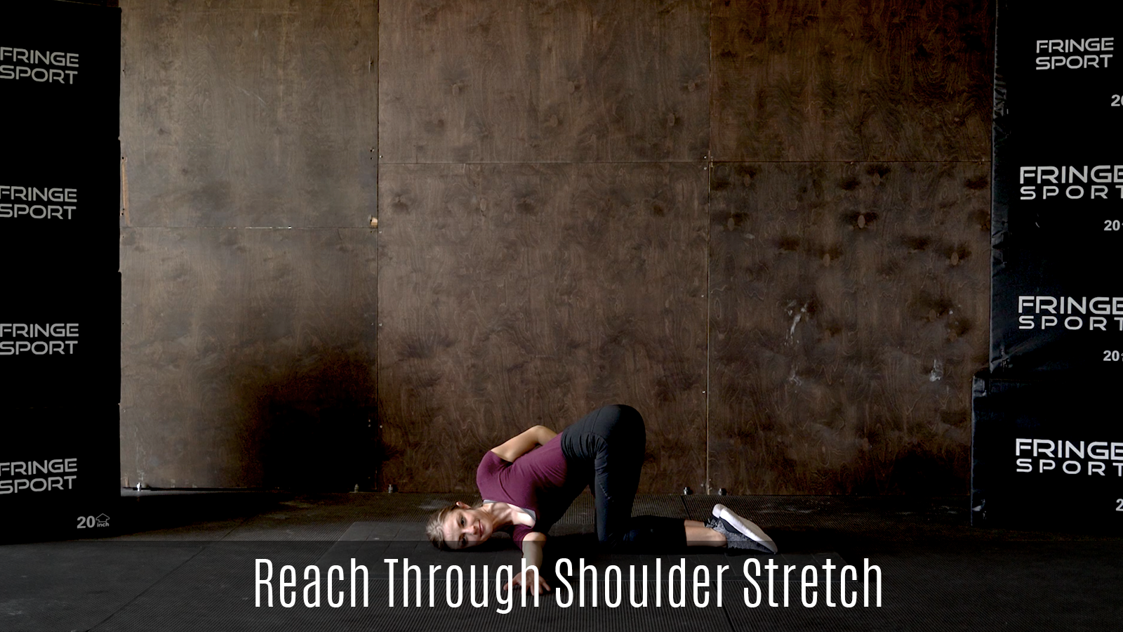 reach through shoulder stretch demo lying on floor