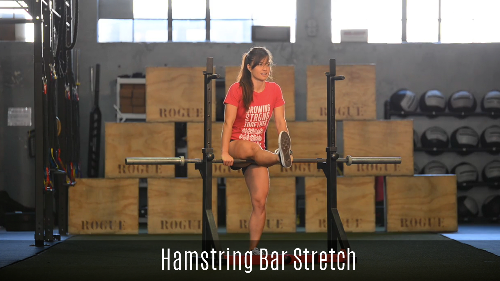 hamstring stretch using a bar