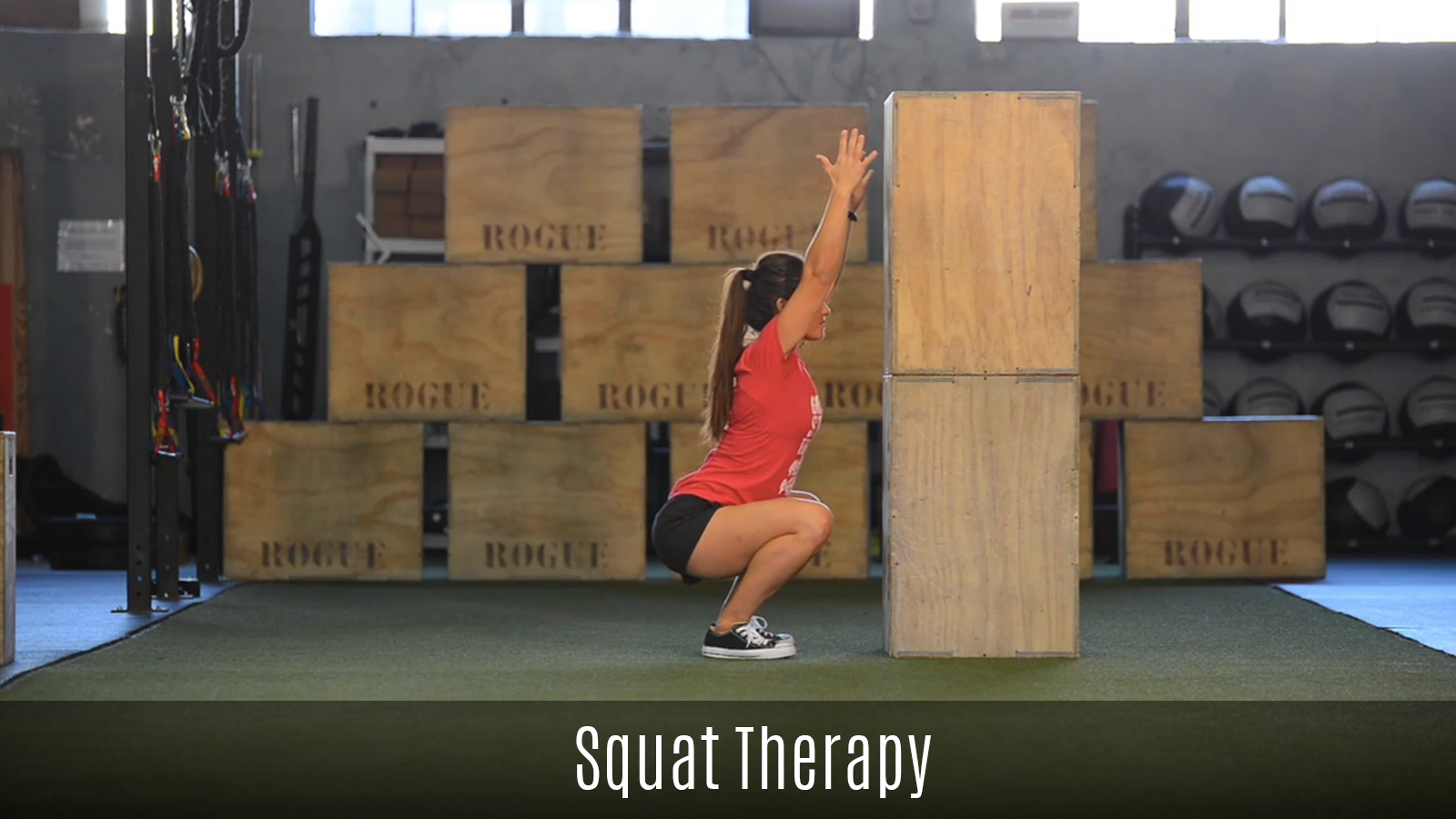 squat therapy movement demo using boxes