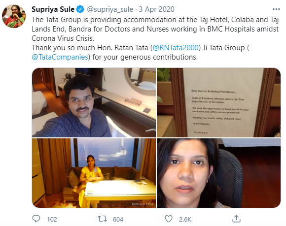 Snippet from Twitter taking about Taj Hotel's helpfulness during the pandemic.