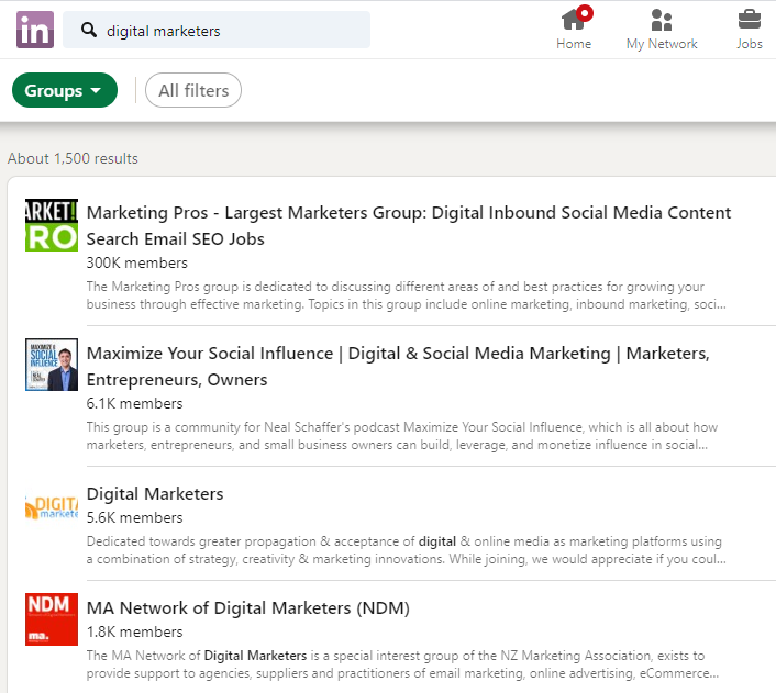 Snapshot displaying LinkedIn groups for digital marketers.