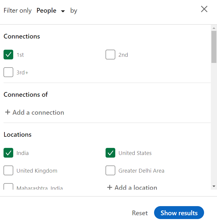 LinkedIn's advanced search filters including connections, locations, etc.