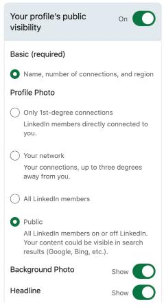 LinkedIn Settings to set up a public profile.