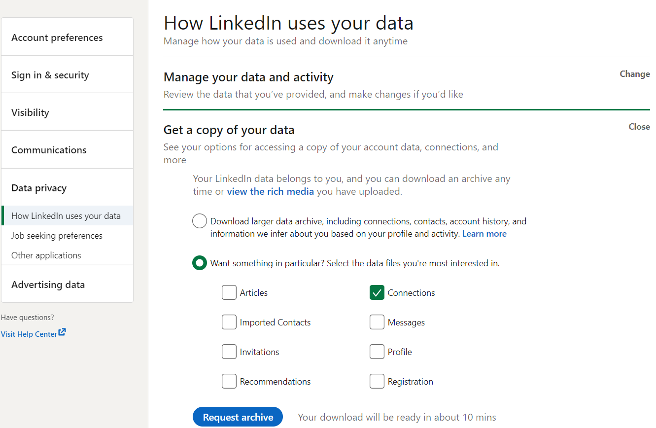 Snapshot of the LinkedIn Data Privacy dashboard displaying options to get a copy of your connection's data.