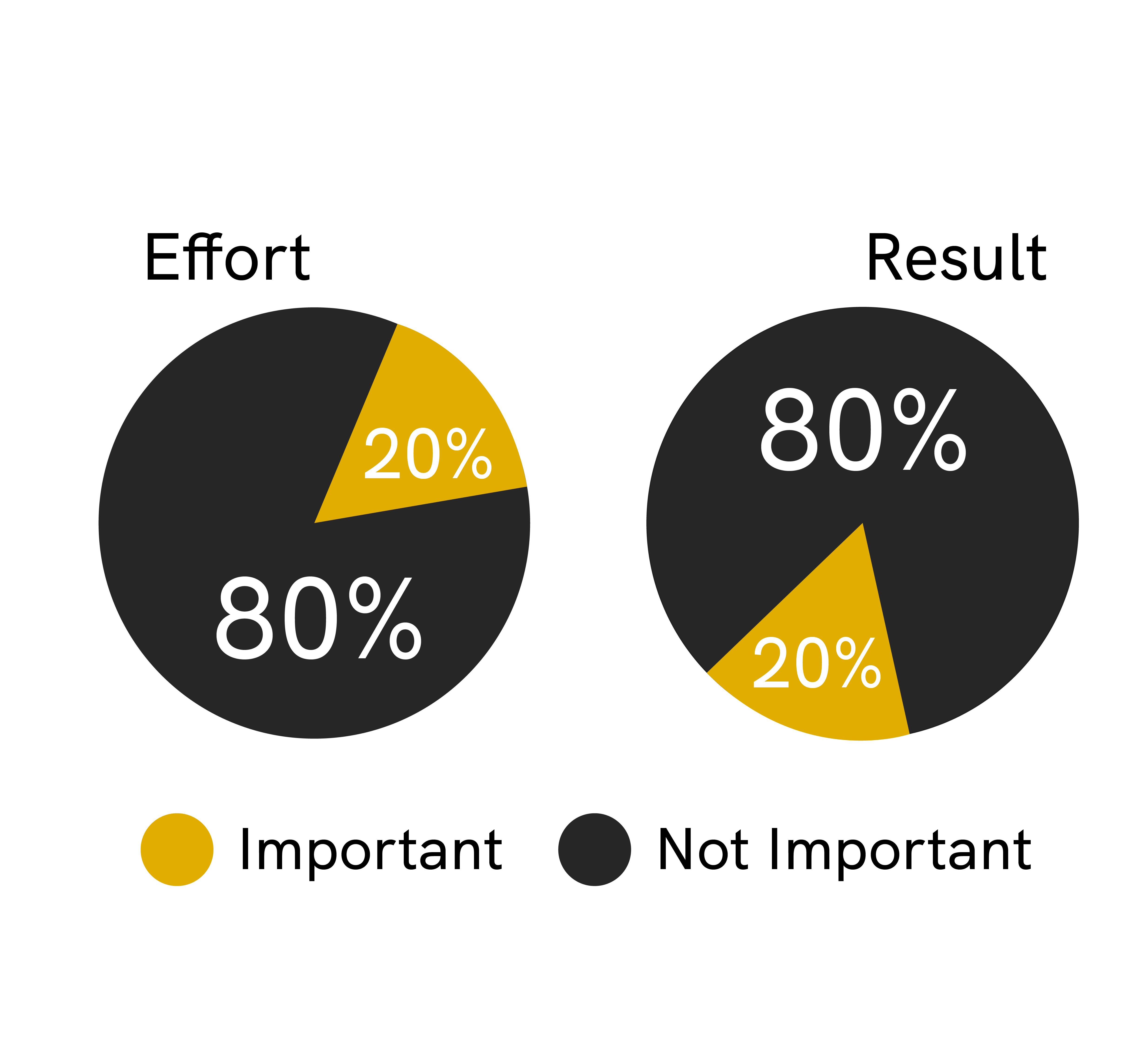 The Pareto's rule or 80 20 rule indicates that 20 percent of your efforts produce 80 percent of the results. Here are two pie charts explaining the same.