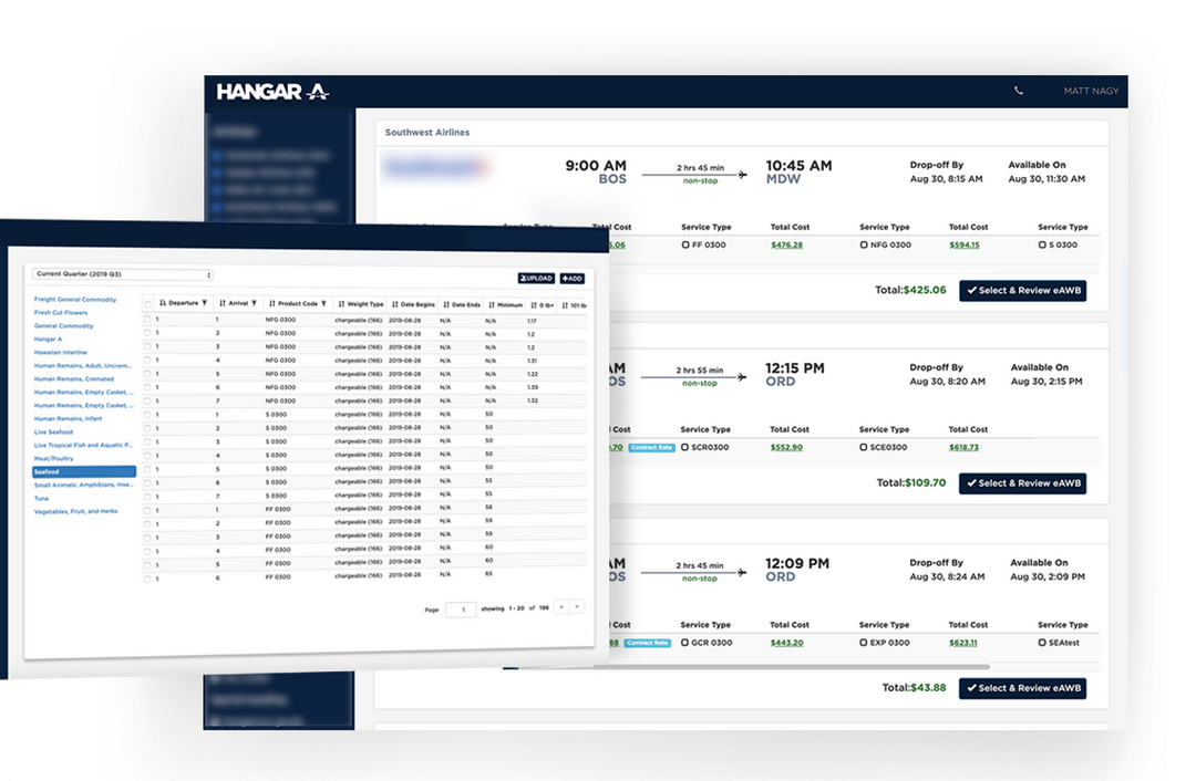 e-booking marketplace platform for same-day expedited air cargo shipping with real-time tracking