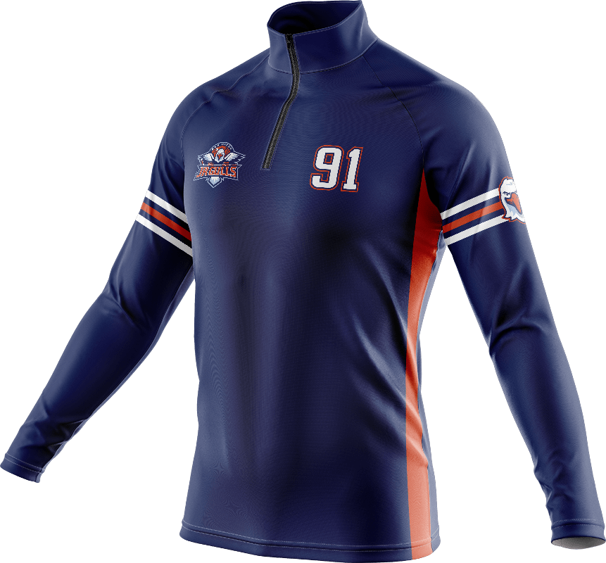 Custom quarter-zip pullover sweatshirt with logo and player number on the chest.