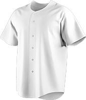 Custom baseball button down shirt, collar-less with short sleeves, featuring logo and player number on chest.
