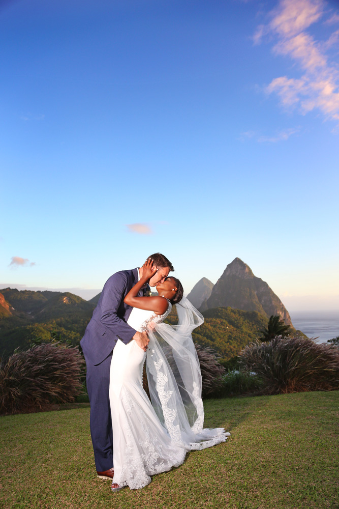 wedding day kiss by the pitons