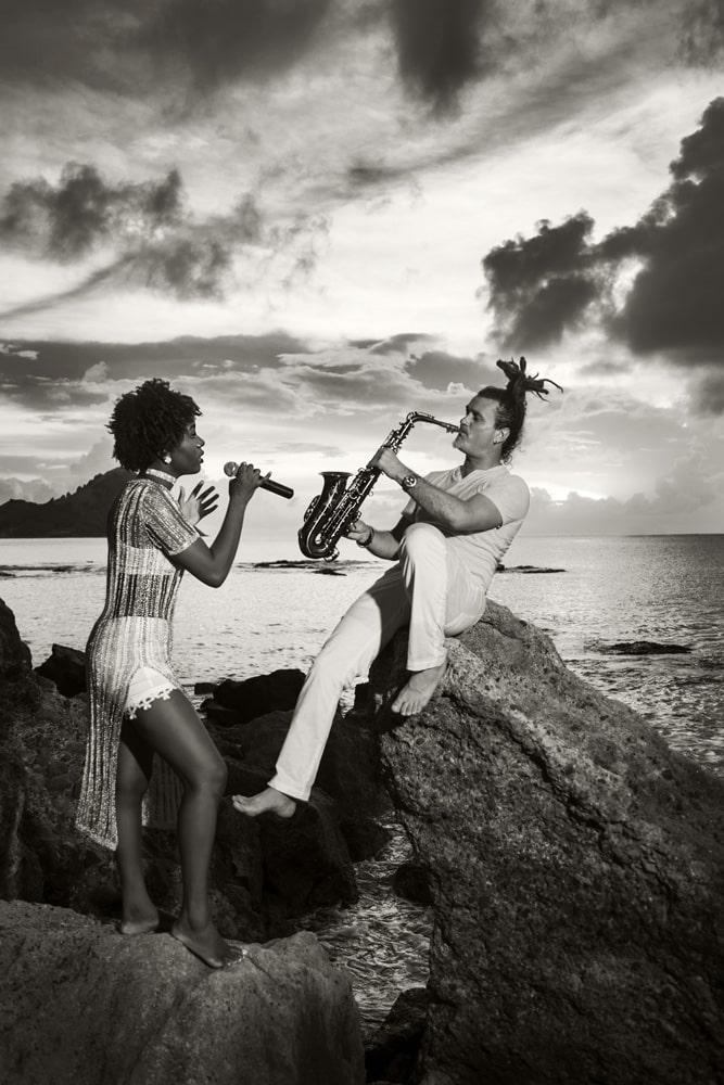 musicians portrait on the beach
