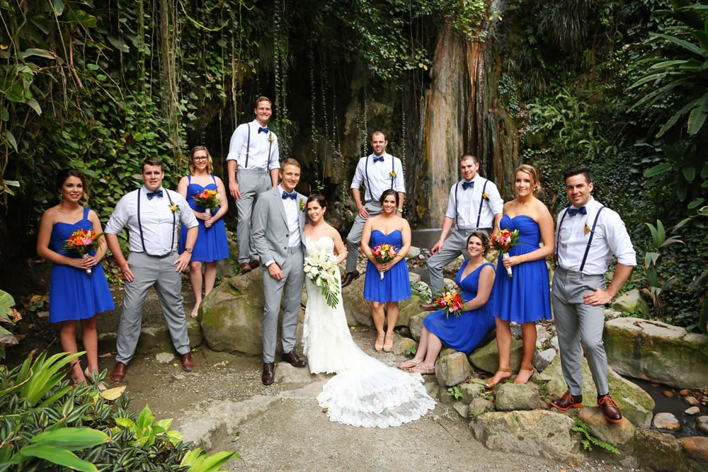 wedding family by waterfall