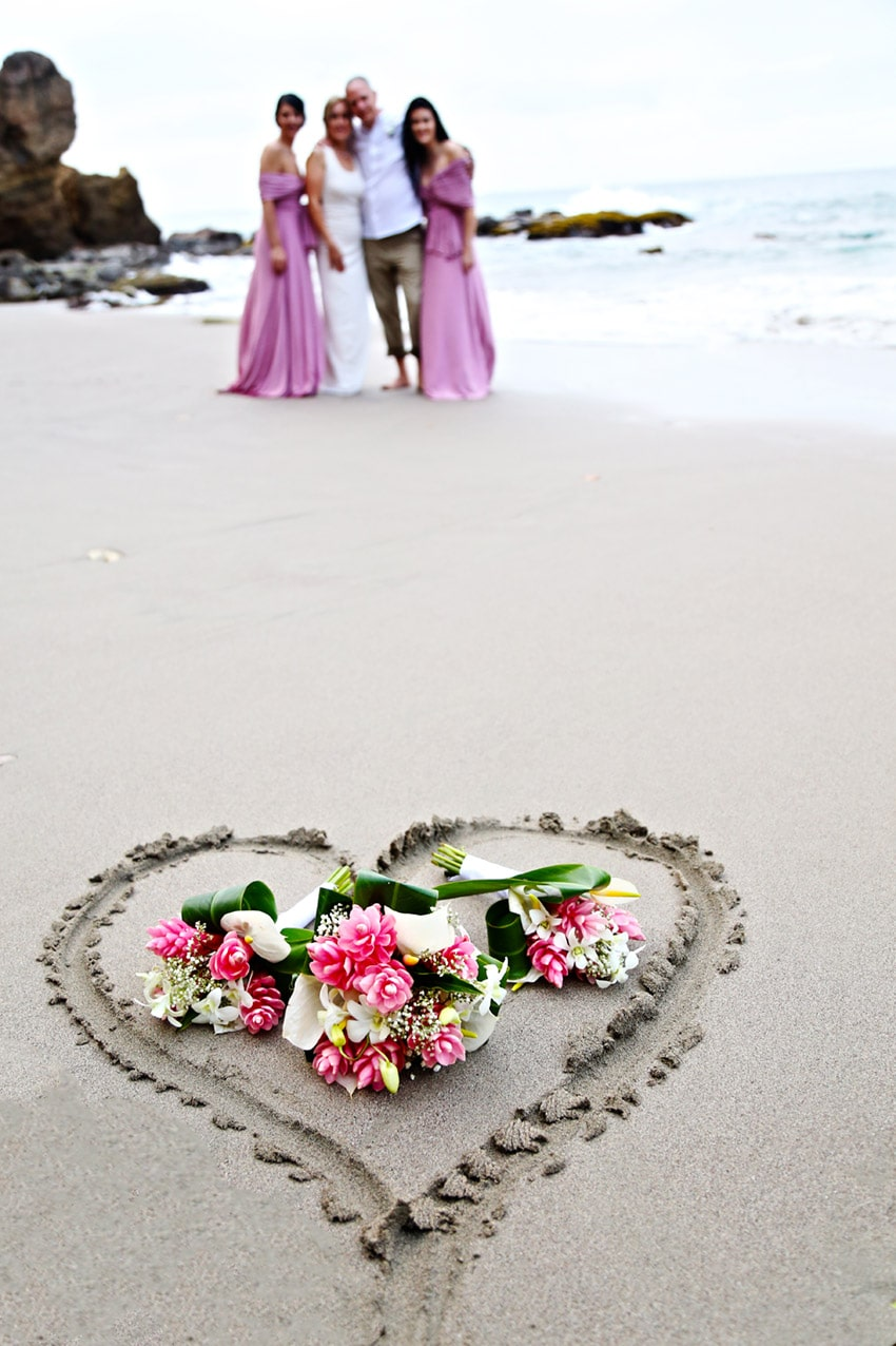 wedding day flowers in a heart