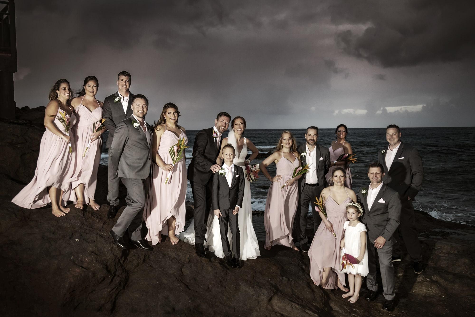 Family wedding on the beach