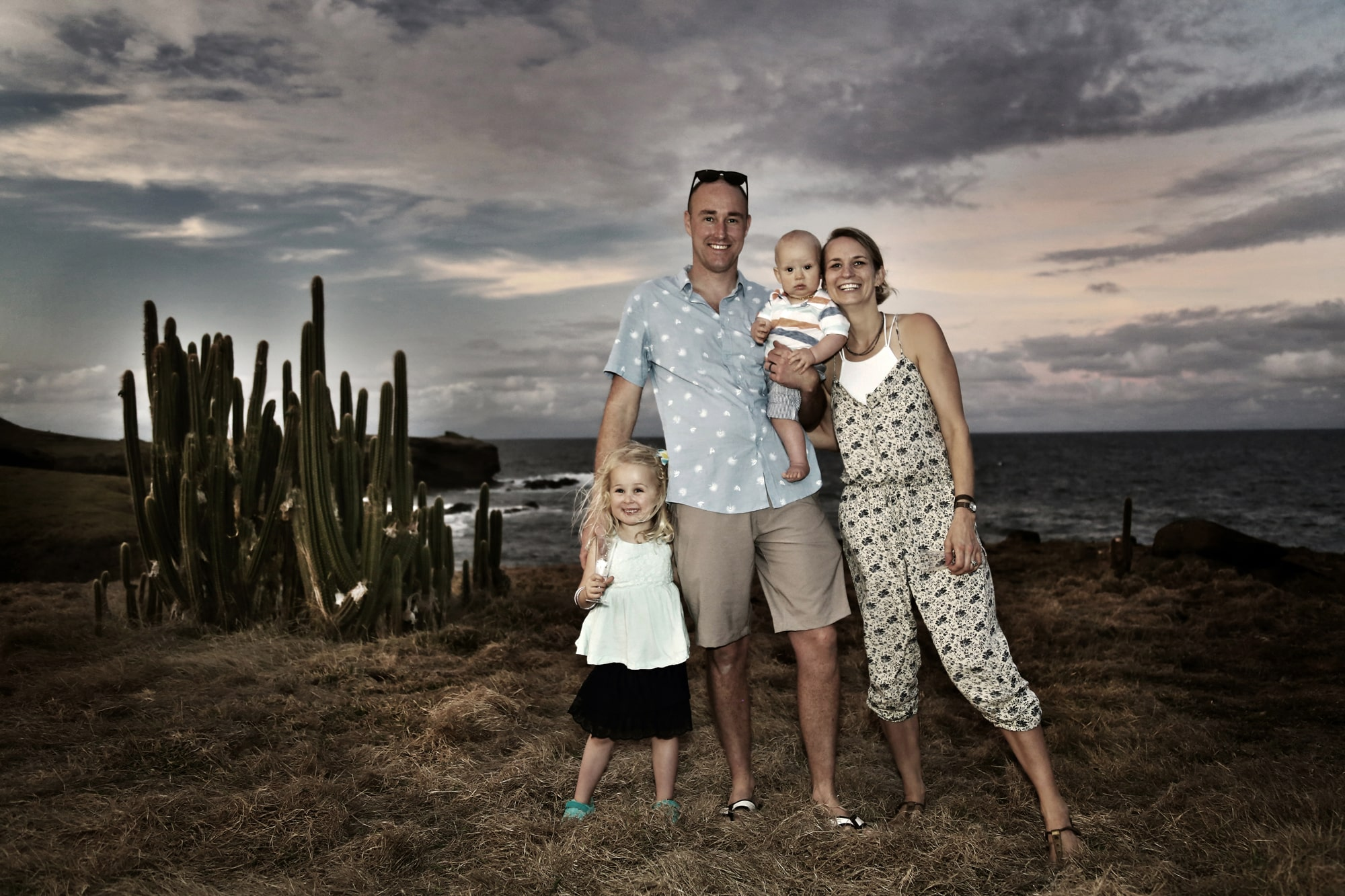 Family portrait by the beach, St. Lucia