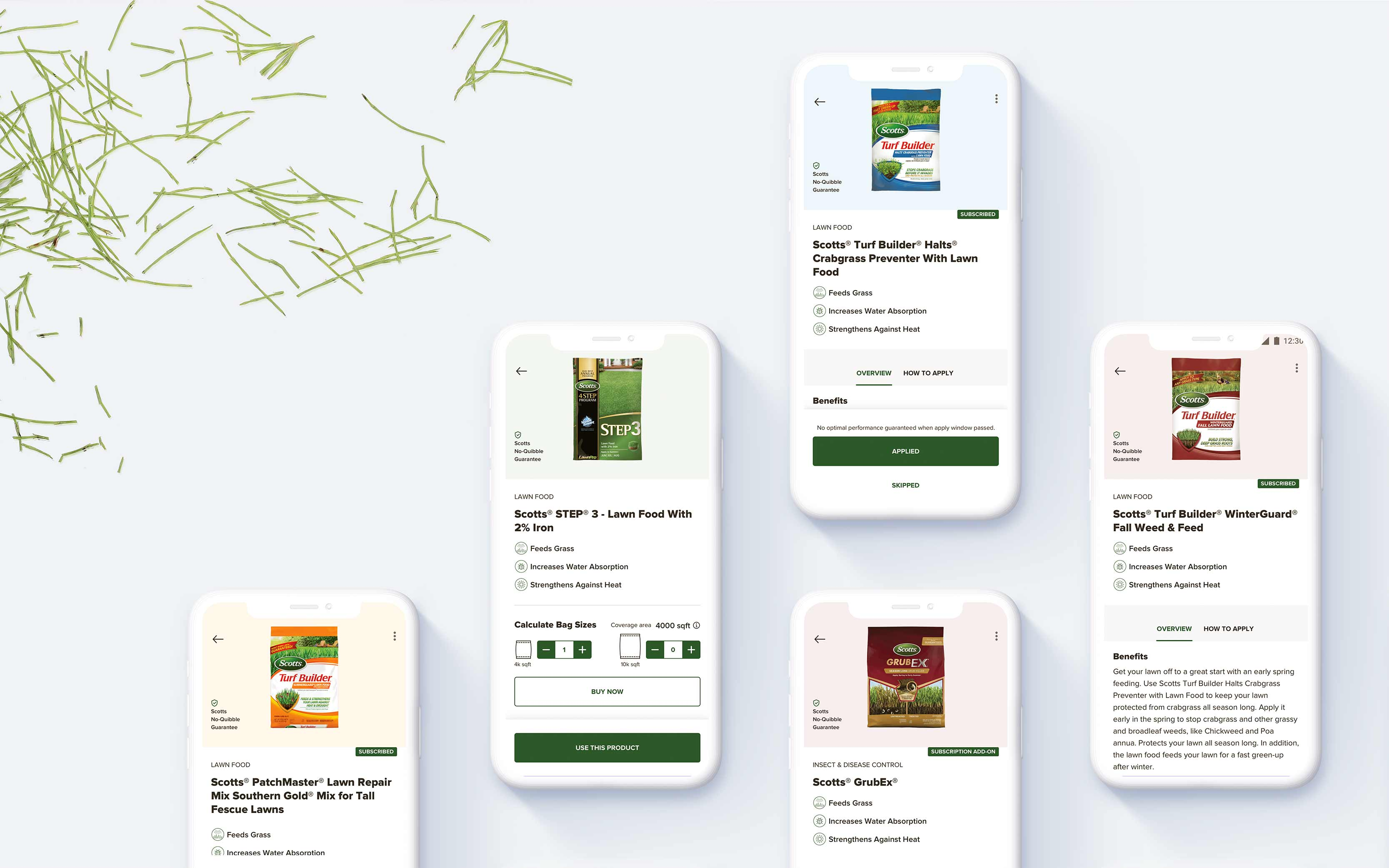 5 screens that shows the bestsellers of Scotts Lawn Care products on the product detail page.