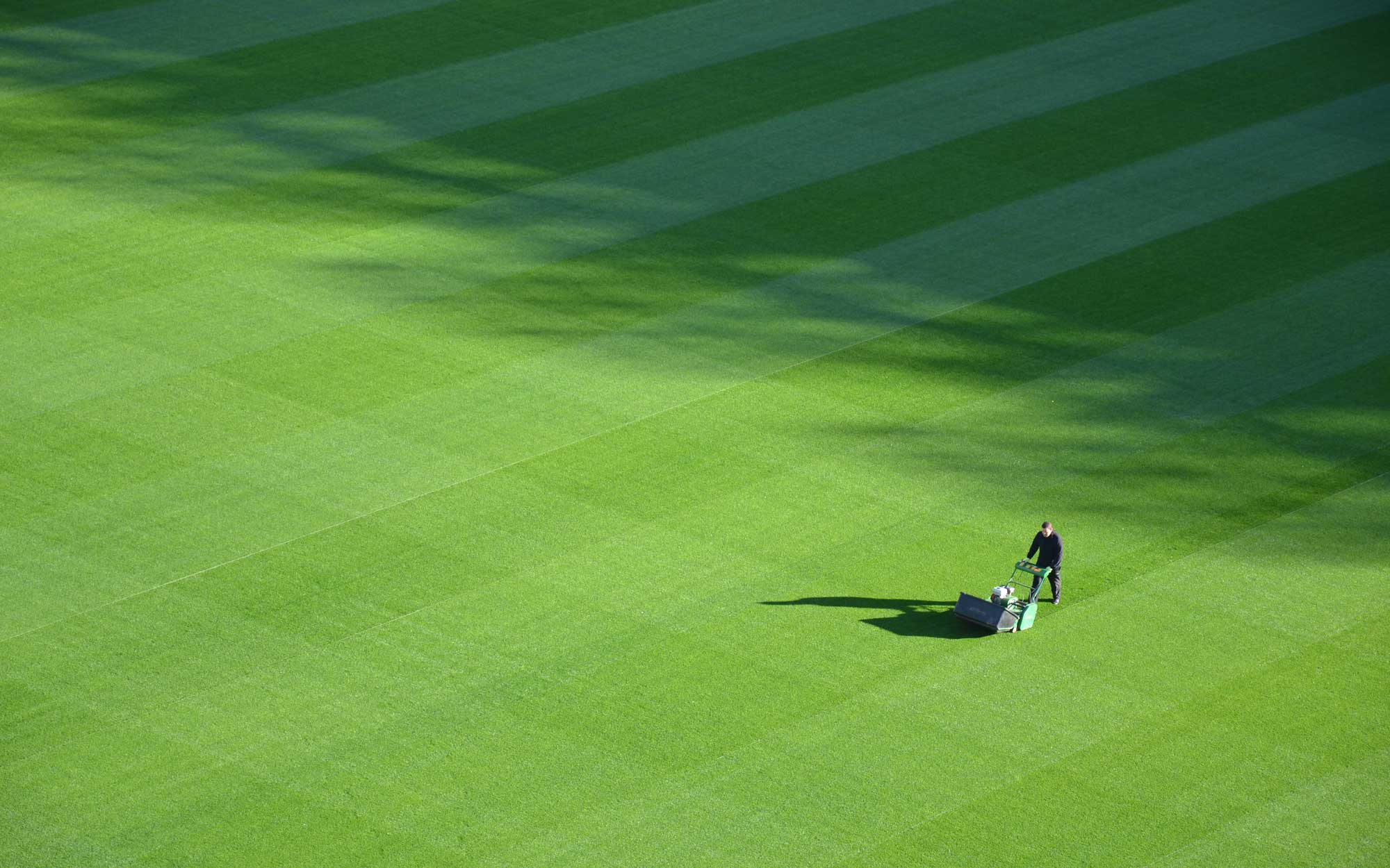 A man mowing a massive lawn with a push mower.