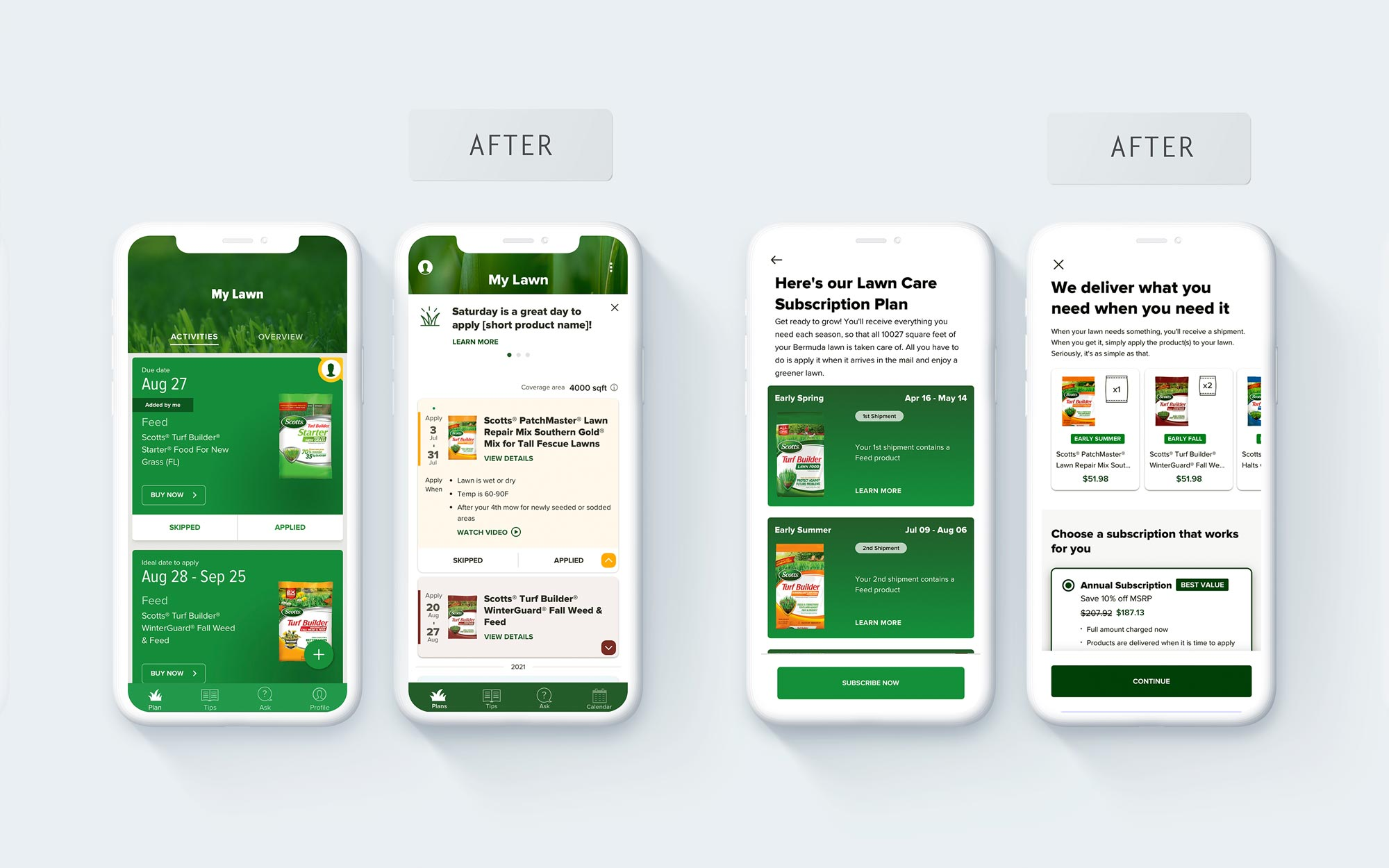 A before-and-after comparison for the home screen and the subscription screen.