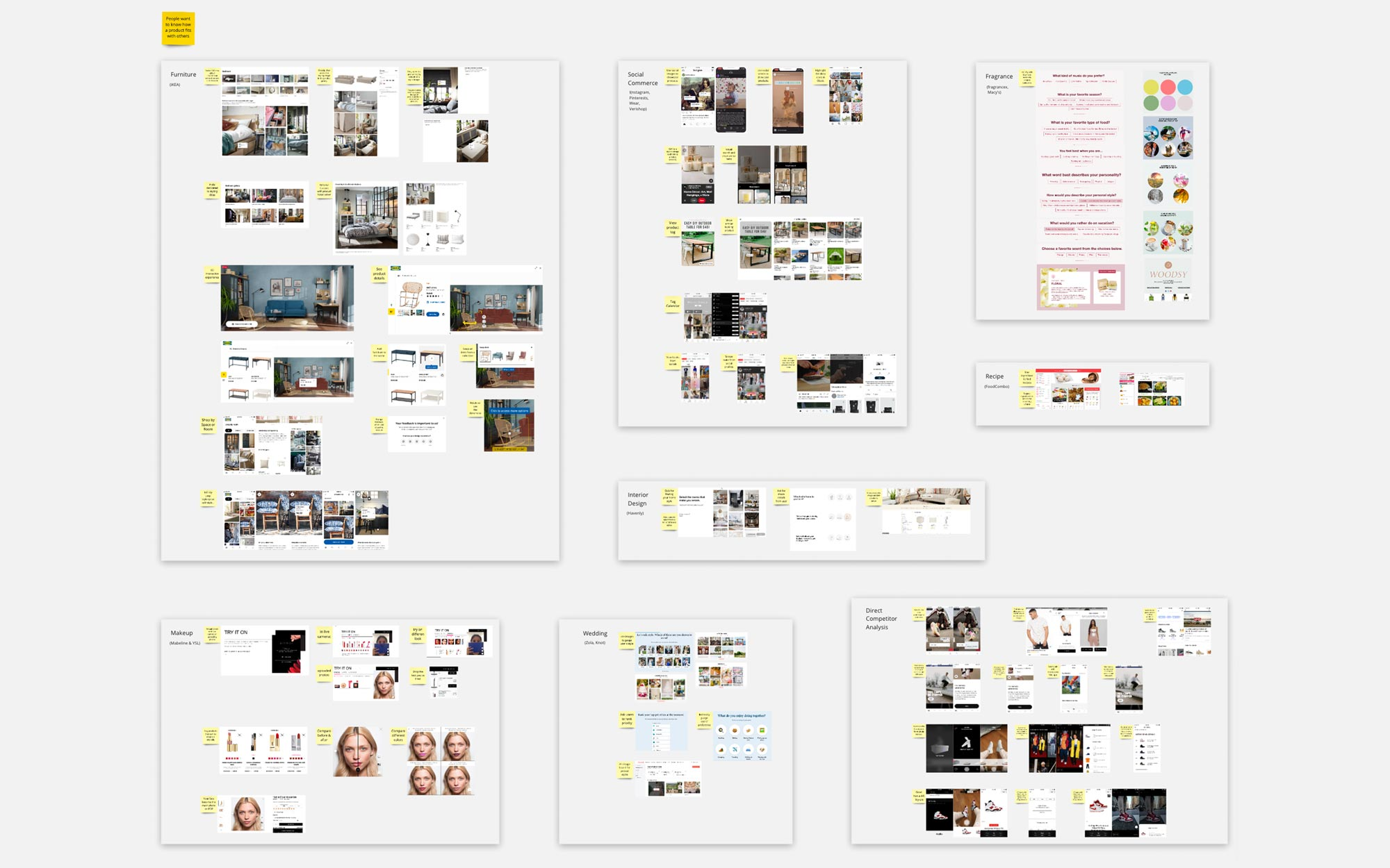 A wall of ideas about how furniture, interior design, makeup, food, wedding, and social commerce industries engage with users on style.