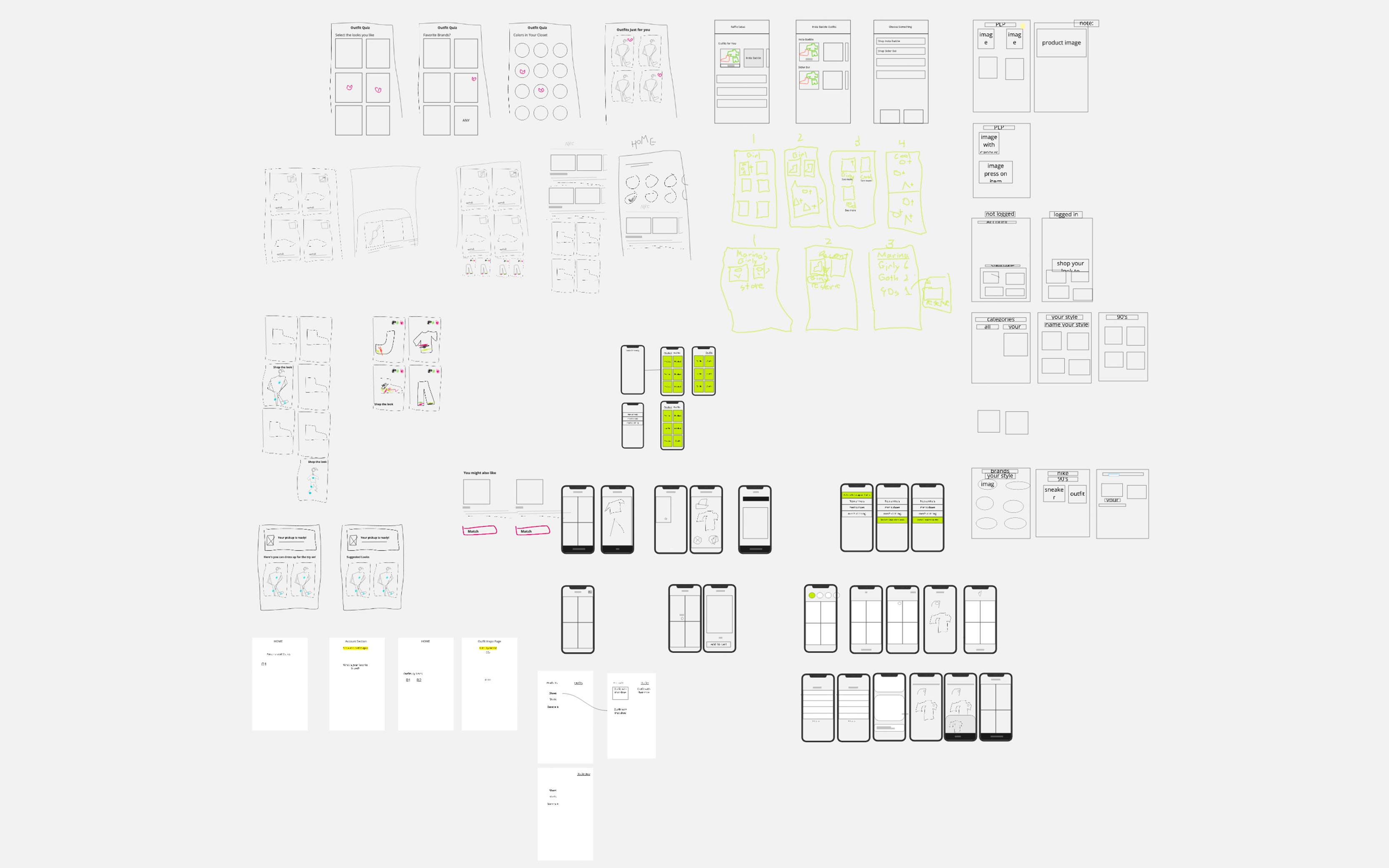 A snapshot of my sketch playground with many design ideas and iterations.