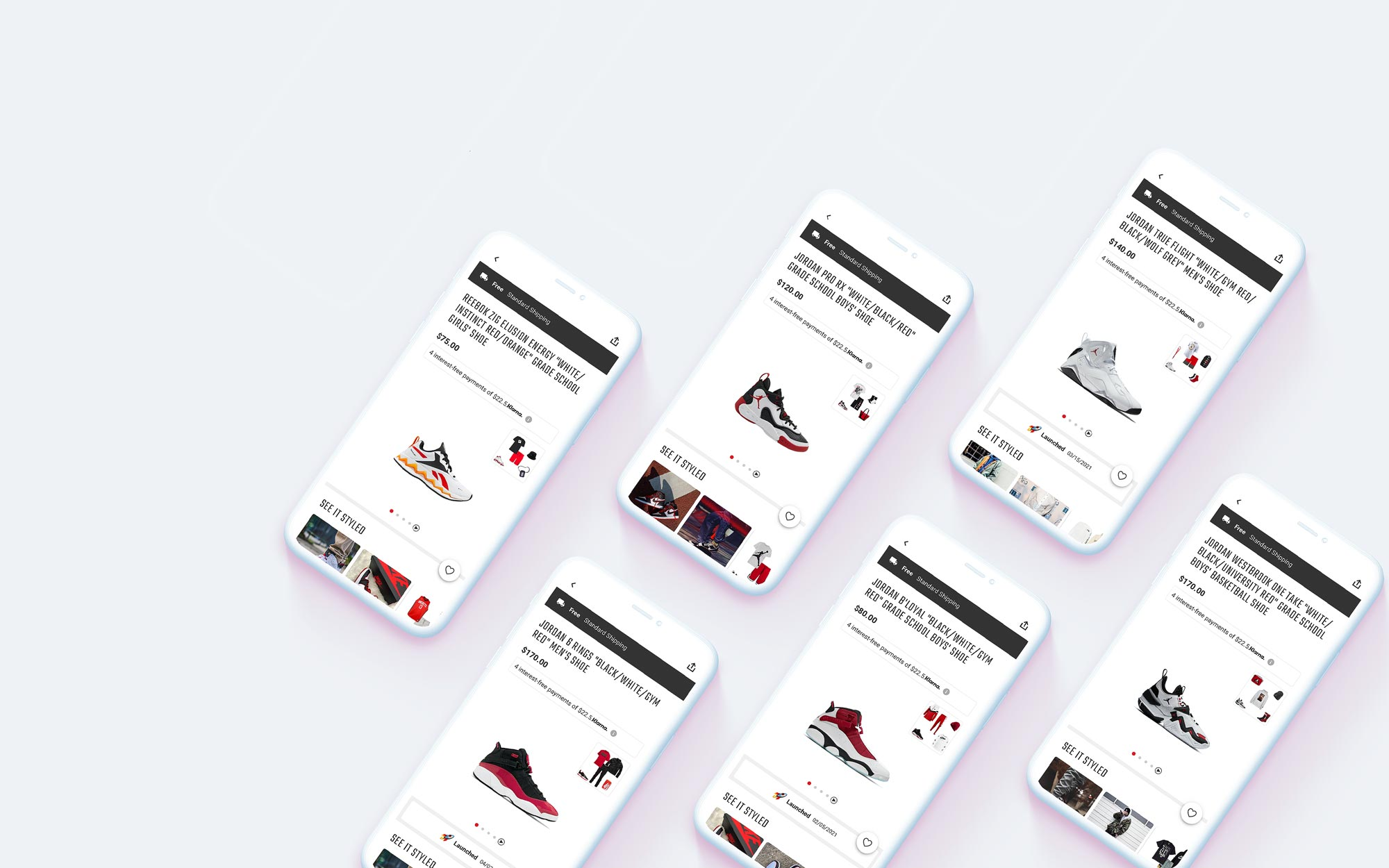 6 product detail pages featuring with red and black Jordan shoes.