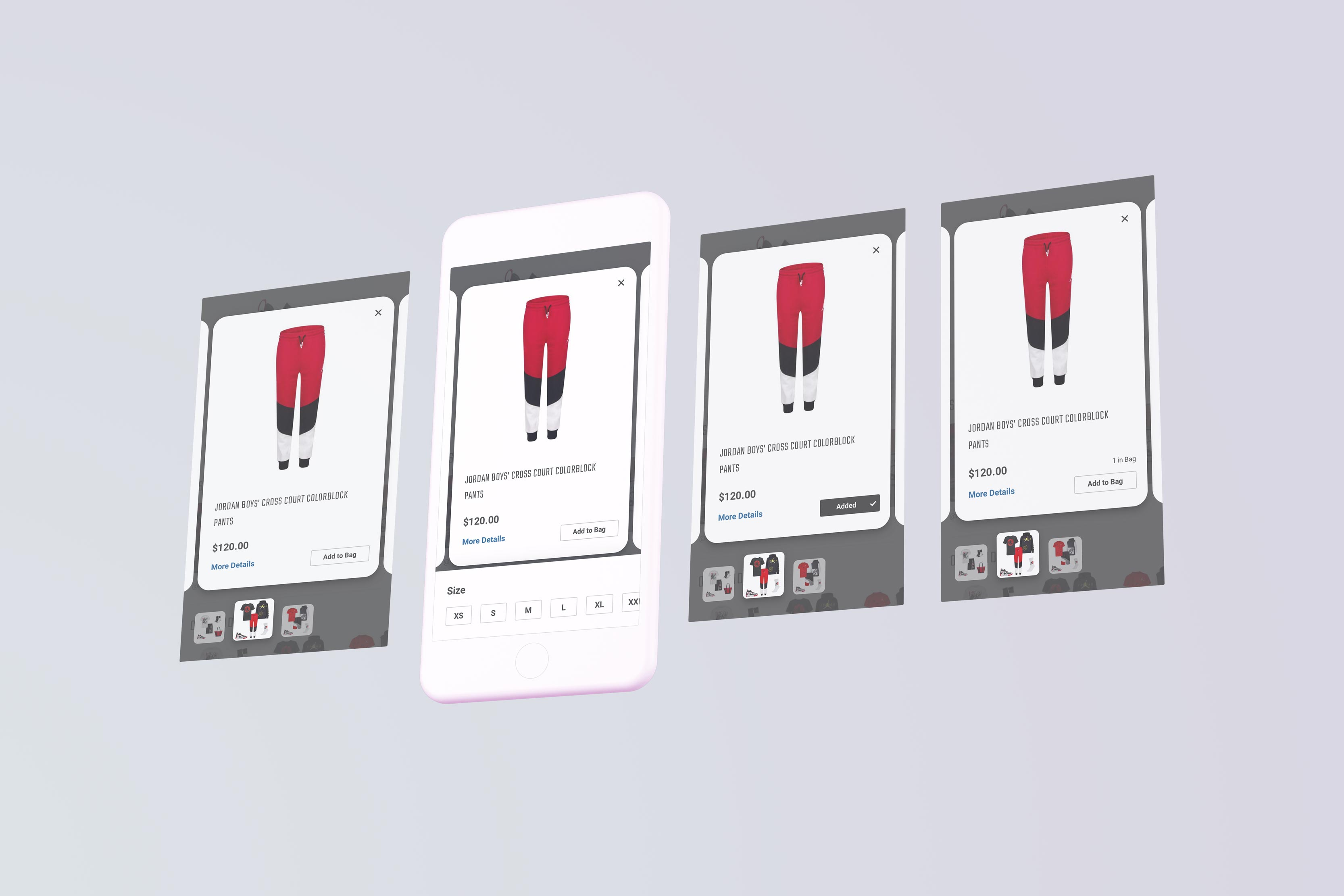 4 screens showing how to add items in an outfit to cart with few clicks.