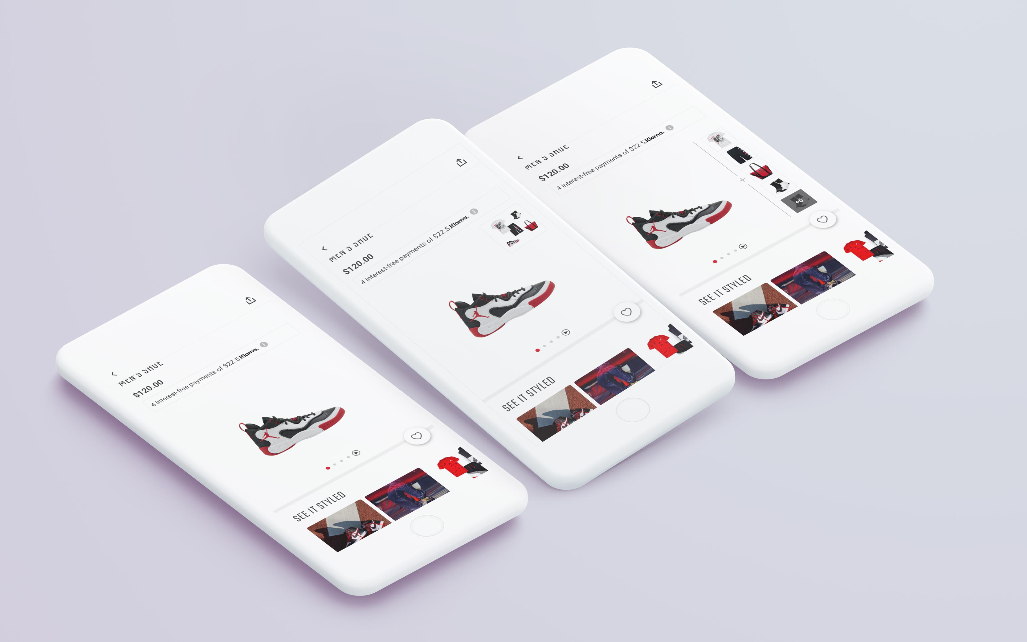 3 versions of the Product Detail Page with different outfit placements
