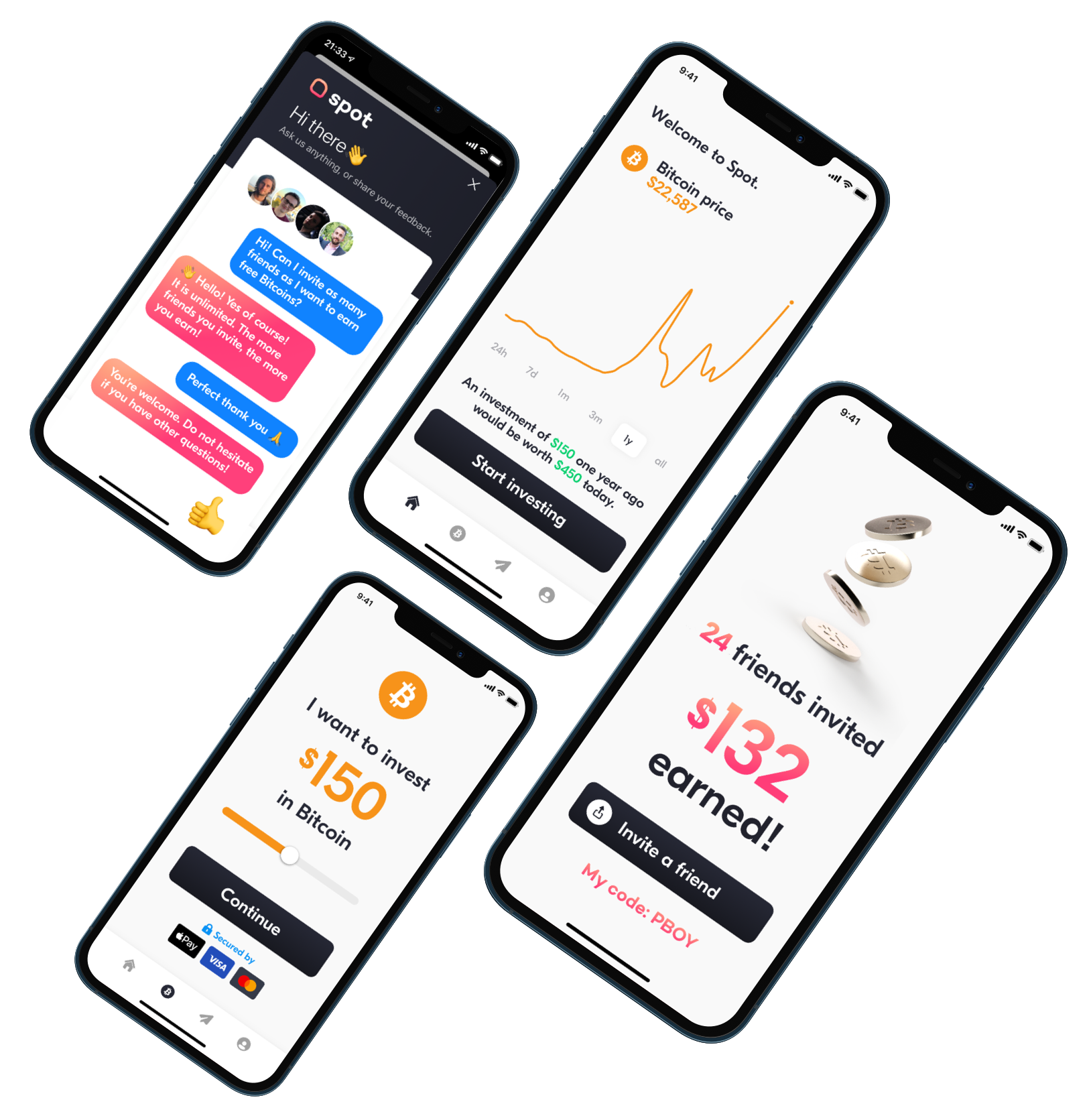 Four phones showing Spot Wallet features